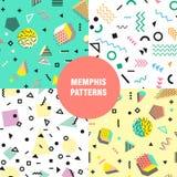 Retro uitstekende de jaren '80 of jaren '90manierstijl Het naadloze patroon van Memphis In geometrische elementen Modern abstract stock illustratie