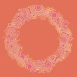 Retro uitstekende discotechno omcirkelt decoratief kader Stock Afbeelding