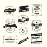 Retro uitstekende etiketten geplaatst de kwaliteit en origi van de Premie royalty-vrije illustratie