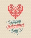 Retro Uitstekende Gelukkige de Groetkaart van de Valentijnskaartendag Royalty-vrije Stock Afbeelding