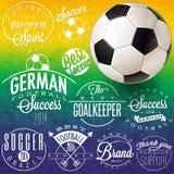 Retro uitstekende het embleeminzameling van het stijlvoetbal Stock Foto's
