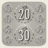 Retro Uitstekende inzameling van de de groetkaart van de stijlverjaardag. Stock Foto