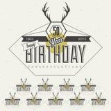 Retro Uitstekende inzameling van de de groetkaart van de stijlverjaardag in kalligrafisch ontwerp. Stock Afbeelding