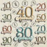 Retro Uitstekende inzameling van de de groetkaart van de stijlverjaardag met kalligrafisch ontwerp. Royalty-vrije Stock Afbeelding