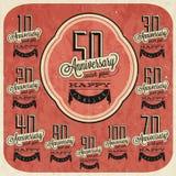 Retro Uitstekende inzameling van de de groetkaart van de stijlverjaardag met kalligrafisch ontwerp. Stock Afbeelding