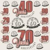 Retro Uitstekende inzameling van de de groetkaart van de stijlverjaardag met kalligrafisch ontwerp. Royalty-vrije Stock Afbeeldingen
