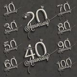 Retro Uitstekende inzameling van de de groetkaart van de stijlverjaardag met kalligrafisch ontwerp. Stock Foto's