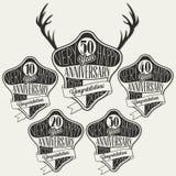 Retro Uitstekende inzameling van de de groetkaart van de stijlverjaardag met kalligrafisch ontwerp Stock Fotografie