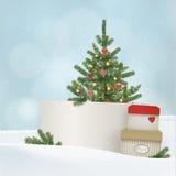 Retro, uitstekende Kerstmis, de kaart van de Nieuwjaargroet, uitnodiging De winterlandschap met giftdozen, spar, nette Kerstboom Royalty-vrije Stock Afbeeldingen