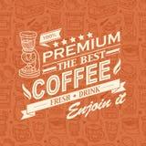 Retro Uitstekende Koffieachtergrond met Typografie Stock Afbeelding