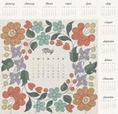 Retro uitstekende ontwerp van de stijlkalender. Royalty-vrije Stock Foto's