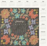 Retro uitstekende ontwerp van de stijlkalender Stock Afbeelding