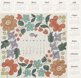 Retro uitstekende ontwerp van de stijlkalender Vectorkalender 2015 Royalty-vrije Stock Afbeeldingen