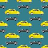 Retro uitstekende oude van het het voertuig automobiele naadloze patroon van de stijlauto van de het vervoer antieke garage klass Stock Foto's
