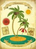 Retro Uitstekende Prentbriefkaar van de Vakantie van de Zomer Grunge Stock Afbeelding