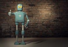 Retro uitstekende robot verschijnt tumb; op een bakstenen muurachtergrond stock fotografie