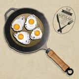 Retro uitstekende stijl Fried Frying Pan met Eieren. Stock Afbeelding