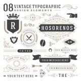 Retro uitstekende typografische ontwerpelementen royalty-vrije illustratie