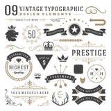 Retro uitstekende typografische ontwerpelementen stock illustratie