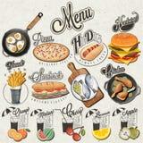 Retro uitstekende van stijl snel voedsel en dranken ontwerpen Stock Afbeelding