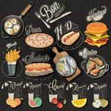 Retro uitstekende van stijl snel voedsel en dranken ontwerpen Stock Fotografie