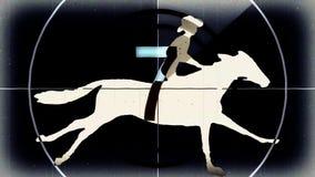 Retro uitstekende zwarte aftelprocedure met de cowboy van de beeldverhaalruiter op het runnen van nieuwe unieke kwaliteit van de  stock illustratie