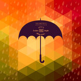 Retro umbrella symbol on hipster background made of triangles Re. Tro background with rain pattern and geometric shapes.Label design. Square composition with stock illustration