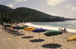 Retro Umbrellas on Tropical Beach. Row of colorful beach umbrellas line a tropical beach of St. Thomas, Virgin Islands. Noise & color filter added for retro look Royalty Free Stock Images