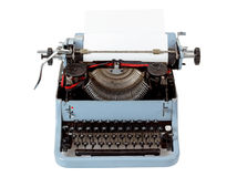 Retro uncovered blue typewriter Stock Images