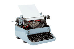 Retro uncovered blue typewriter Royalty Free Stock Photo