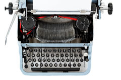 Retro uncovered blue typewriter Royalty Free Stock Photos