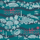 Retro underwater pattern on aquamarine background. Seamless pattern  marine themed with fish, shrimp, crab, helm, shell, starfish, squid,  octopus, anchor and Stock Images