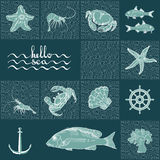 Retro underwater pattern on dark aquamarine background. Vector illustration  marine themed with fish, shrimp, crab, helm, shell, starfish, anchor handwritten Royalty Free Stock Photos