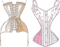 Retro underwear. A colored retro underwear on white Royalty Free Stock Image