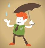 Retro- Unternehmenskerl mit Regenschirm. Stockbilder