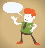 Retro- Unternehmenskerl mit Sprache-Luftblase. Lizenzfreie Stockfotografie