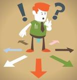 Retro- Unternehmenskerl wählt, der Weise zu gehen. Lizenzfreie Stockbilder