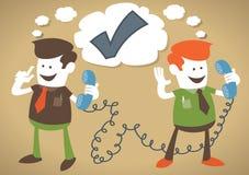 Retro- Unternehmenskerle bilden ein Abkommen am Telefon. lizenzfreie abbildung