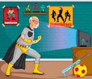 Retro uomo anziano del supereroe dei fumetti di stile Fotografia Stock