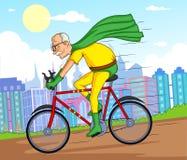 Retro uomo anziano del supereroe dei fumetti di stile Immagine Stock