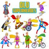 Retro uomo anziano e donna del supereroe dei fumetti di stile Fotografia Stock