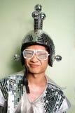 Retro uomo dell'asiatico del re della discoteca Fotografia Stock Libera da Diritti