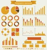 Retro uppsättning av infographic beståndsdelar. Arkivbild