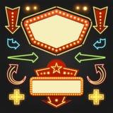 Retro uppsättning för beståndsdelar för Showtime teckendesign Ljusa kulor för ljus affischtavlaSignage Arkivfoto