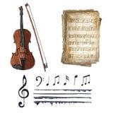 Retro uppsättning för musikaliska anmärkningar för vattenfärg Arkivfoton