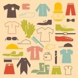 Retro uppsättning för symboler för design för klädvektorlägenhet Arkivbild
