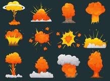 Retro uppsättning för tecknad filmexplosionsymbol royaltyfri illustrationer