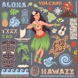 Retro uppsättning för vektor av hawaianska symboler och symboler Arkivfoton