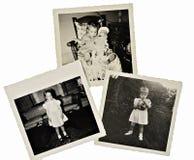 Retro urklippsbokfoto av flickan arkivbild