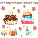 Retro Urodzinowi świętowanie projekta elementy - dla Obraz Royalty Free